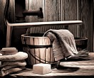 Antique Laundry Scene with Old Towels and Soap Bar