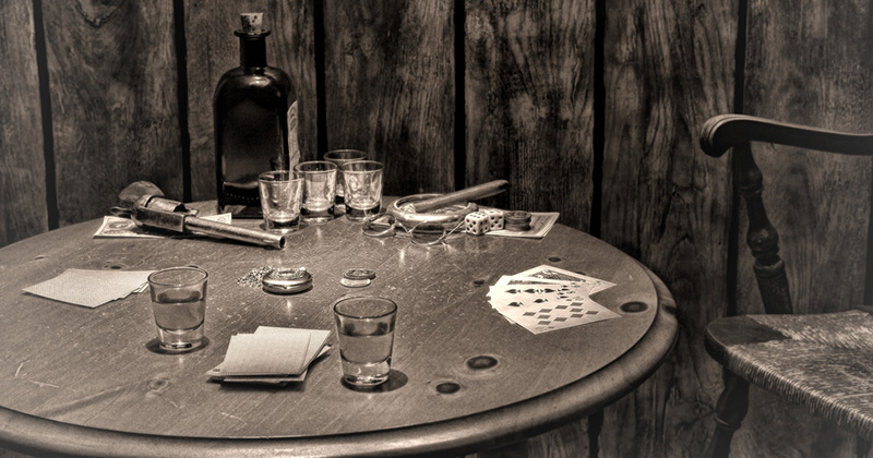 American West Legend Antique Saloon Gambling Table